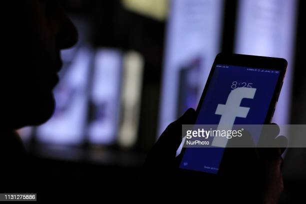 Facebook Logo is seen on a mobile phone on March 17 2019