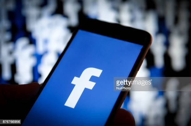 A Facebook logo is seen on an iPhone screen in this photo illustration on November 20 2017