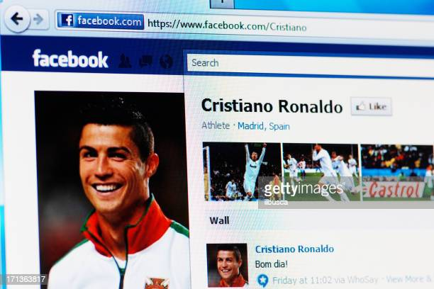 facebook page of cristiano ronaldo on rgb laptop monitor - cristiano ronaldo soccer player stock pictures, royalty-free photos & images