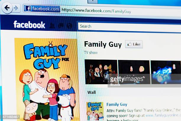 facebook page of family guy on rgb laptop monitor - family guy television show stock pictures, royalty-free photos & images