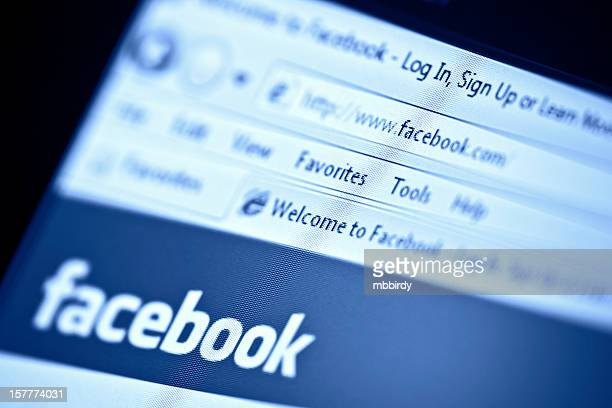 Facebook site in Internet Explorer browser on LCD screen