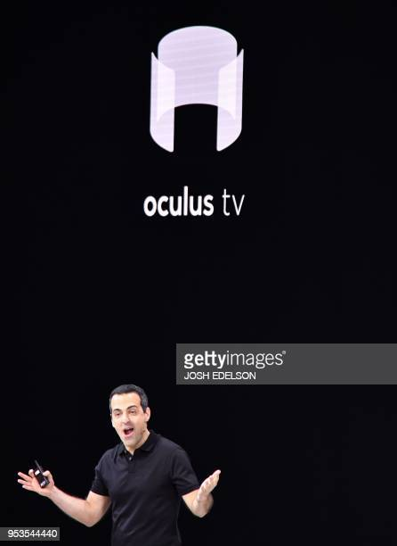 Facebook vice president of VR Hugo Barra talks about the new Oculus Go during the annual F8 summit at the San Jose McEnery Convention Center in San...