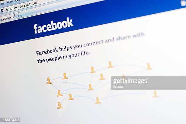facebook website main webpage - social media stockfoto's en -beelden