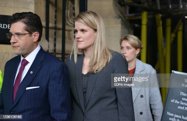 Facebook whistleblower Frances Haugen, leaves Houses of Parliament after giving evidence to British lawmakers in London. Frances Haugen is data...