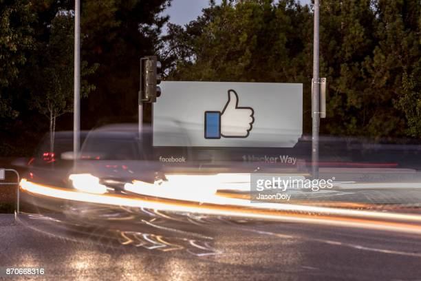 facebook-1 hacker way - like button stock photos and pictures