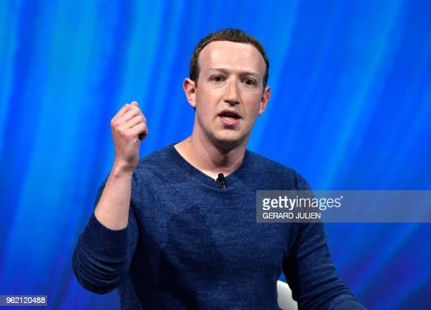 Facebook's CEO Mark Zuckerberg delivers his speech during the VivaTech trade fair in Paris on May 24 2018