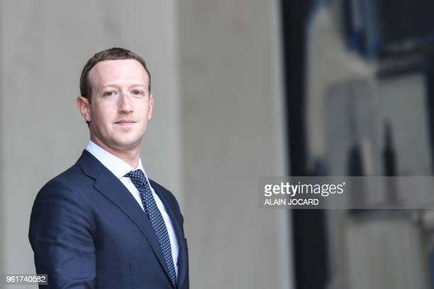 TOPSHOT Facebook's CEO Mark Zuckerberg leaves the Elysee presidential palace in Paris on May 23 2018 following a meeting with French President on the...