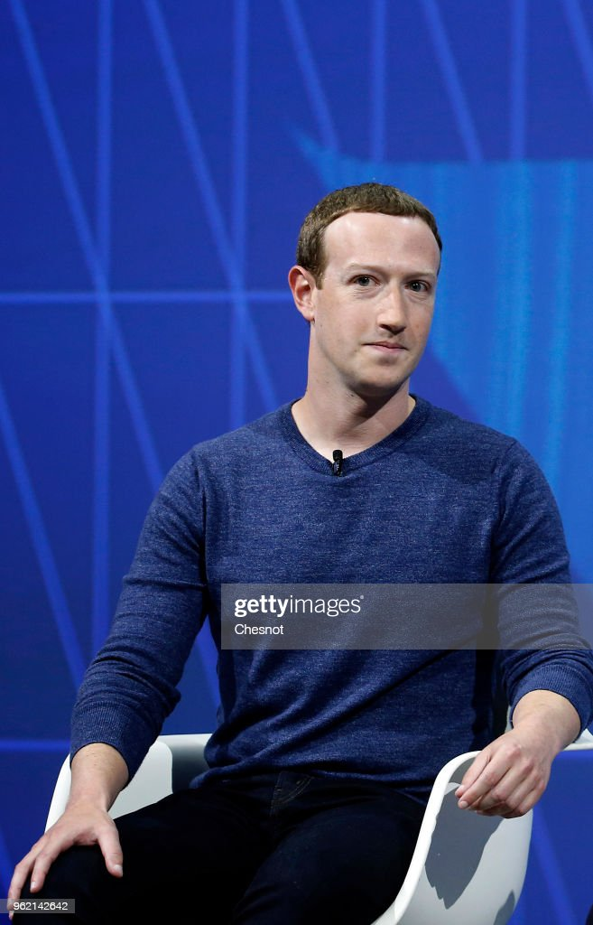 Facebook's founder and CEO Mark Zuckerberg speaks to participants during the Viva Technologie show at Parc des Expositions Porte de Versailles on May 24, 2018 in Paris, France. Viva Technology, the new international event brings together 5,000 startups with top investors, companies to grow businesses and all players in the digital transformation who shape the future of the internet.