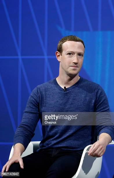 Facebook's founder and CEO Mark Zuckerberg speaks to participants during the Viva Technologie show at Parc des Expositions Porte de Versailles on May...