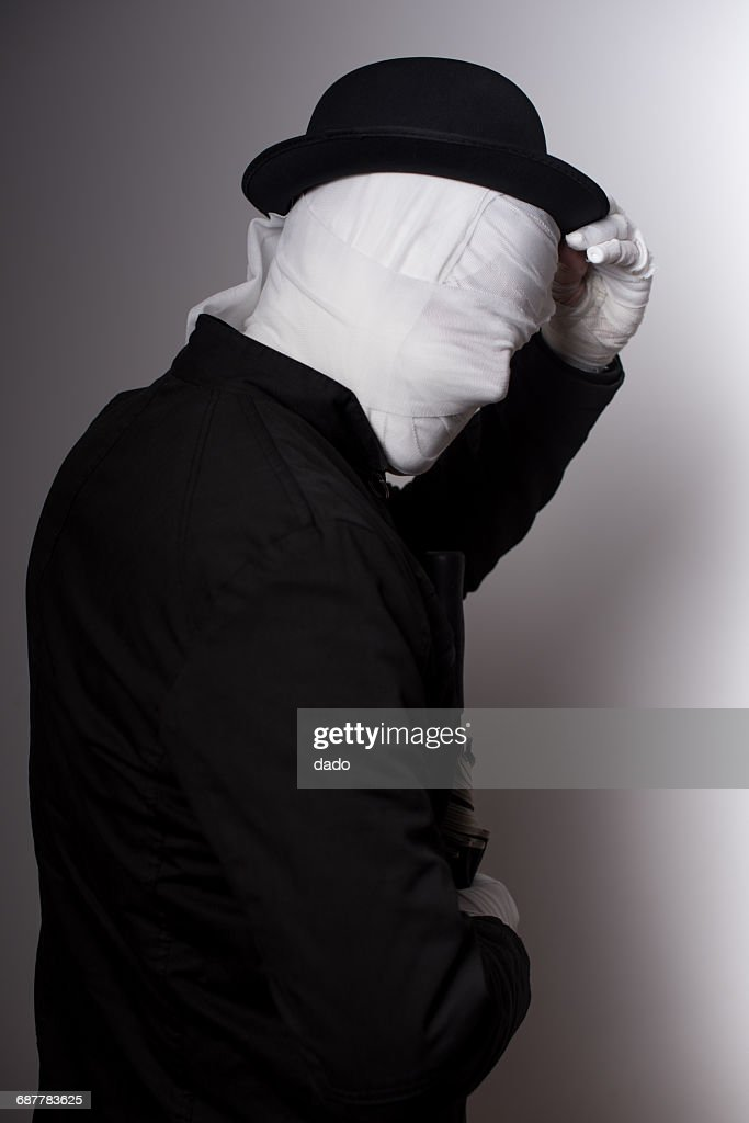 Halloween Maan.Faceless Halloween Man With A Bandaged Face Stock Photo