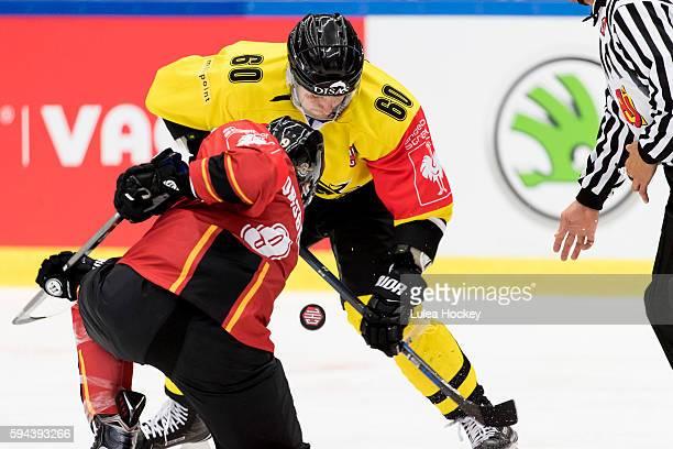 Face-off between Tero Koskiranta of SaiPa Lappeenrantaand Johan Forsberg of Lulea Hockey during the Champions Hockey League match between Lulea...