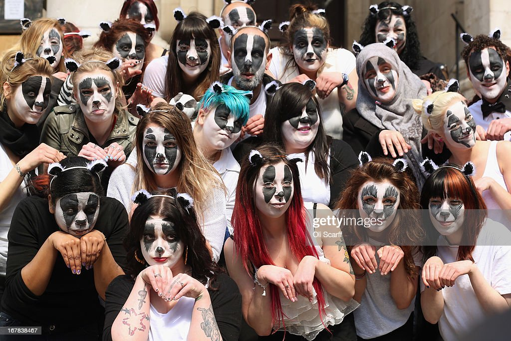 Face-paint wearing campaigners, opposed to the Government's proposed badger cull in England, stage a demonstration outside the Department for Food and Rural Affairs on May 1, 2013 in London, England. The anti-cull protest, which has received the support of Queen guitarist Brian May, was backed by the 'Animal Aid' campaign.
