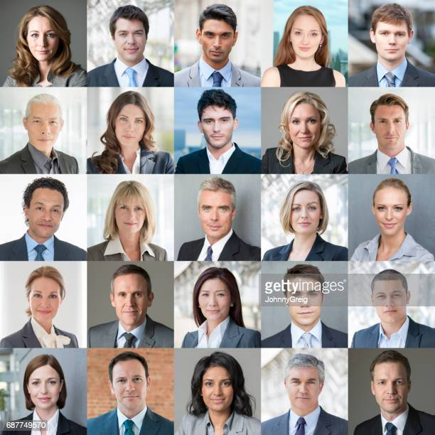 faces of business - confident colour image - image montage stock pictures, royalty-free photos & images