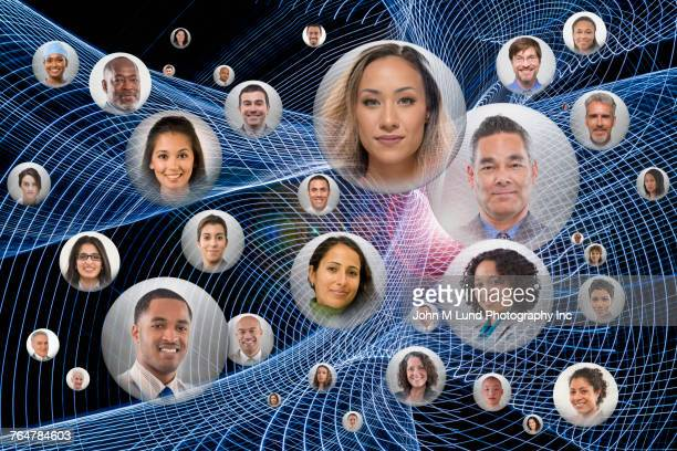 Faces of connected people in spheres