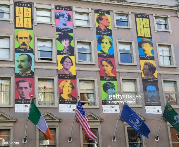 Faces of famous national heroes from 1916 uprising Dublin Ireland Republic of Ireland