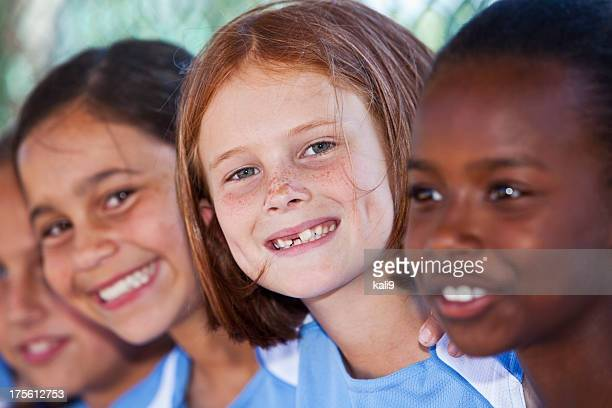 faces of happy little girls - children only stock pictures, royalty-free photos & images