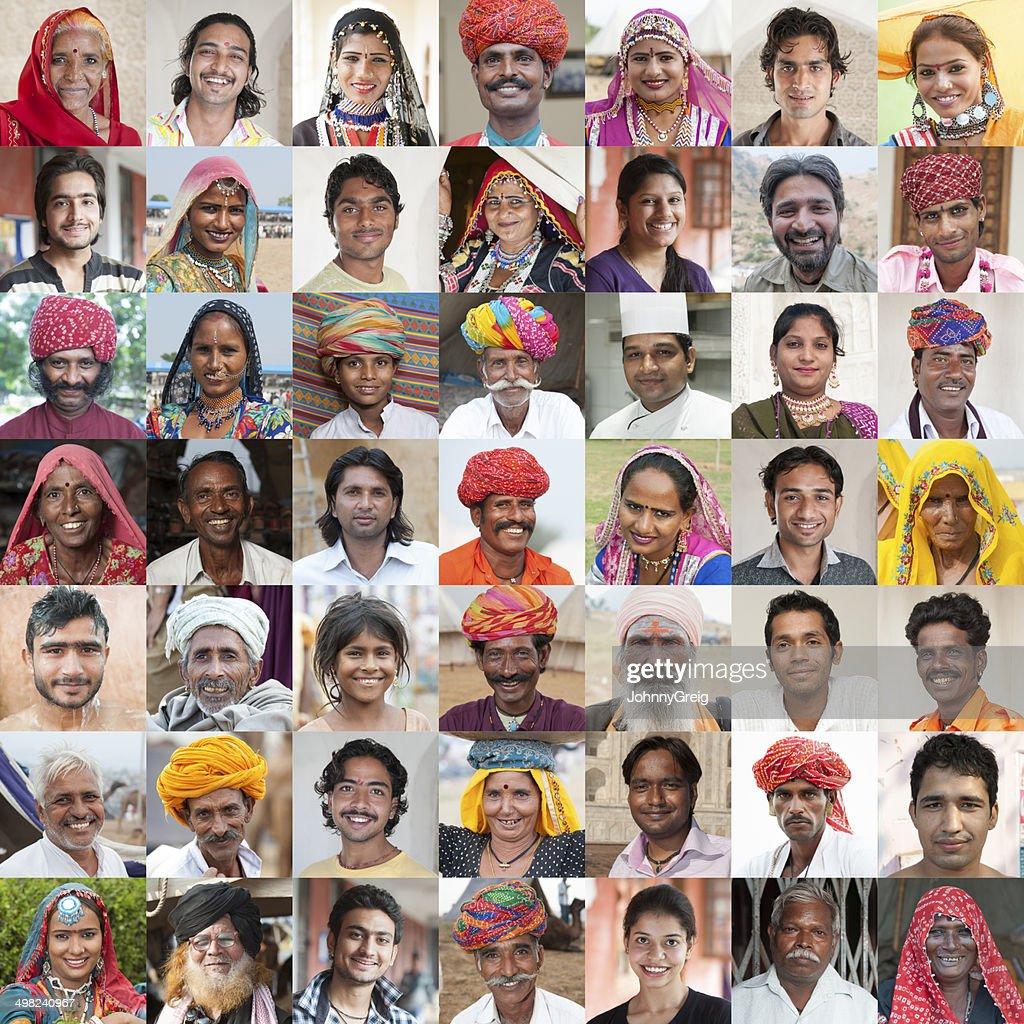 Caras de la India : Foto de stock