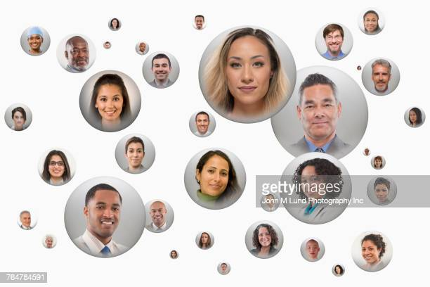 faces of people in spheres - people inside bubbles stock pictures, royalty-free photos & images