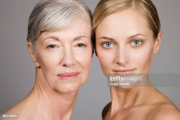 Faces of young and senior women
