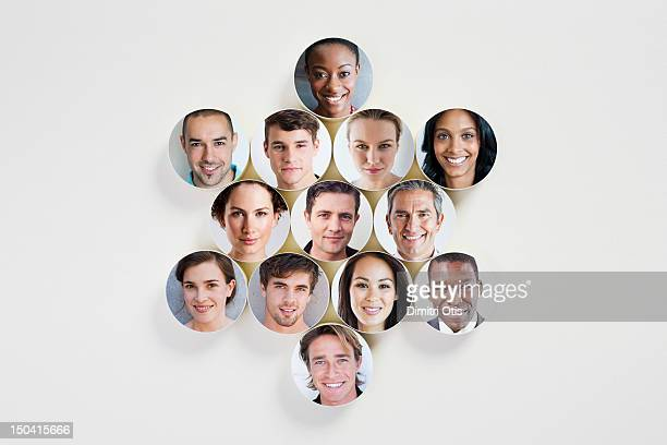 Faces on discs placed in a star shape
