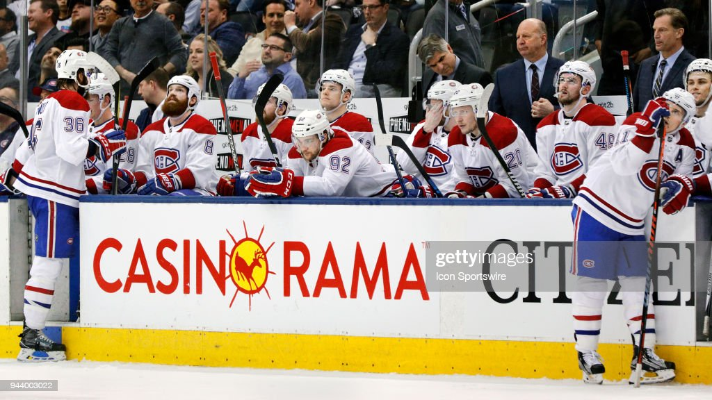 Faces on the Montreal Canadien's bench show disappointment after Toronto Maple Leafs Center Nazem Kadri's (43) (not pictured) goal during the final NHL 2018 regular-season game between the Montreal Canadiens and the Toronto Maple Leafs on April 7, 2018 at Air Canada Centre in Toronto, ON., Canada.