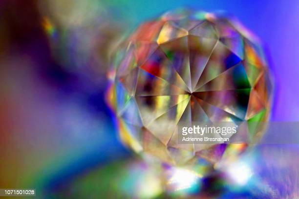 Facets of Cut Crystal With Holographic Light Effects