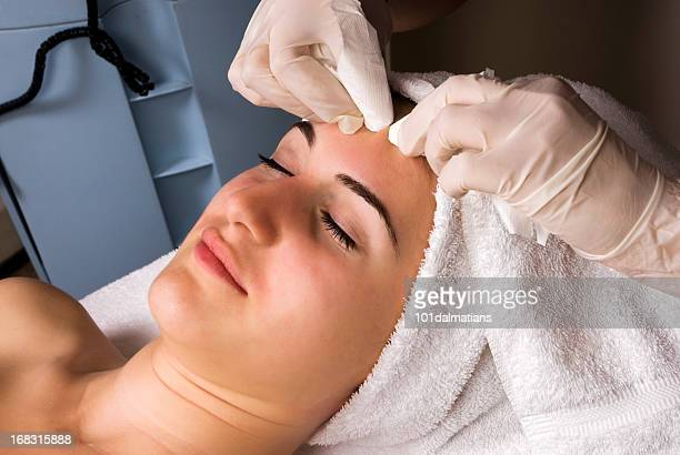 facial care against acnes - pores stock photos and pictures