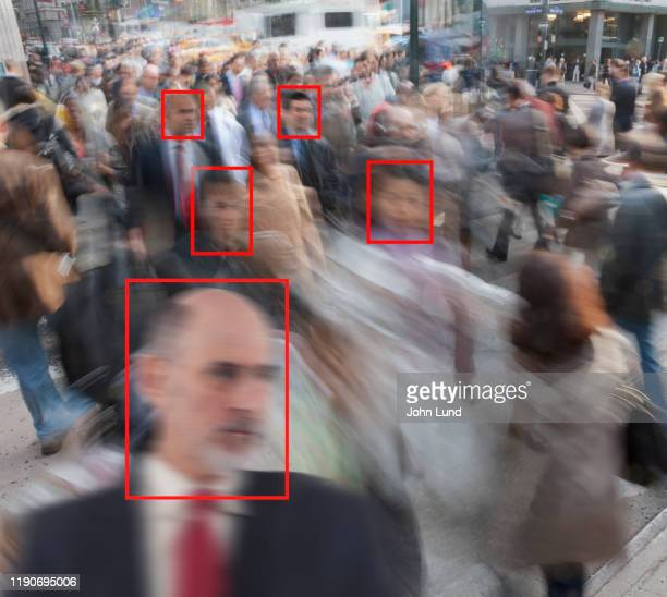facial crowd recognition technology - facial recognition technology stock pictures, royalty-free photos & images