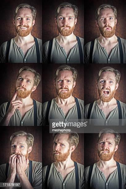 Gesichtsausdruck Set junger Mann
