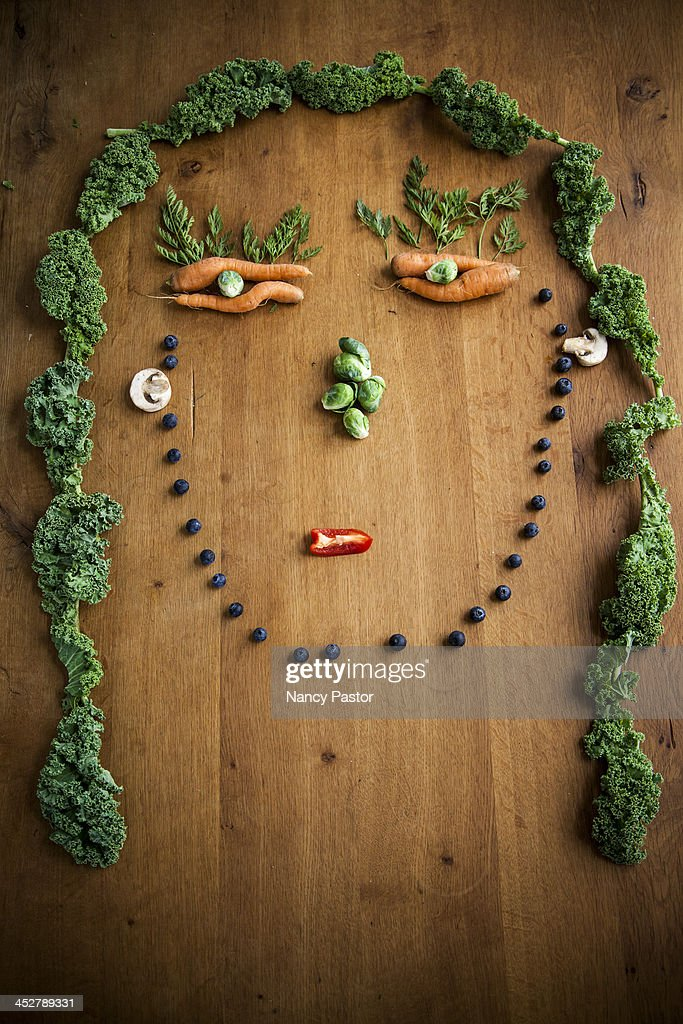 Facial illustrations made from vegetables and frui : Stock Photo