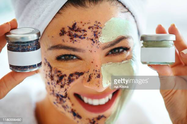 facial mask and exfoliation cream, two key things for a beautiful skin. - exfoliation stock pictures, royalty-free photos & images