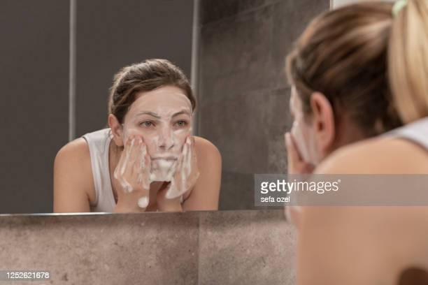 facial mask - beauty product - washing face stock pictures, royalty-free photos & images