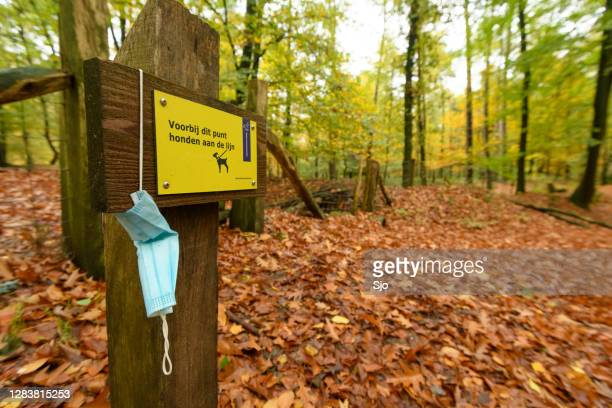 "facial mask on hanging on a sign in the veluwezoom nature reserve. - ""sjoerd van der wal"" or ""sjo"" stock pictures, royalty-free photos & images"