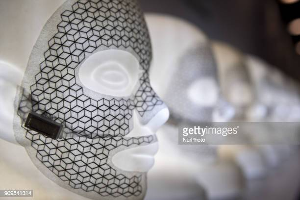 Facial mask that uses technology to treat the skin are show during the Cosme Tokyo 2018, January 24, 2018 in Japan. Cosme Tokyo 2018 and the Asia's...
