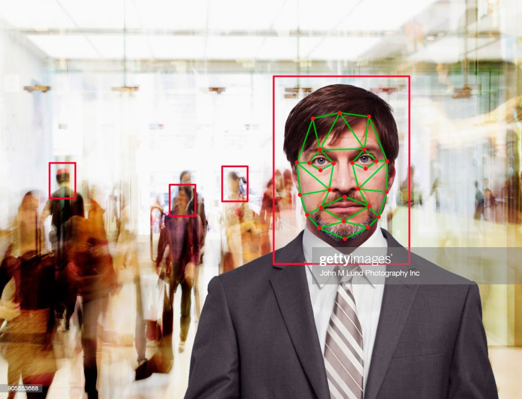 Facial recognition of Caucasian businessman : Stock Photo