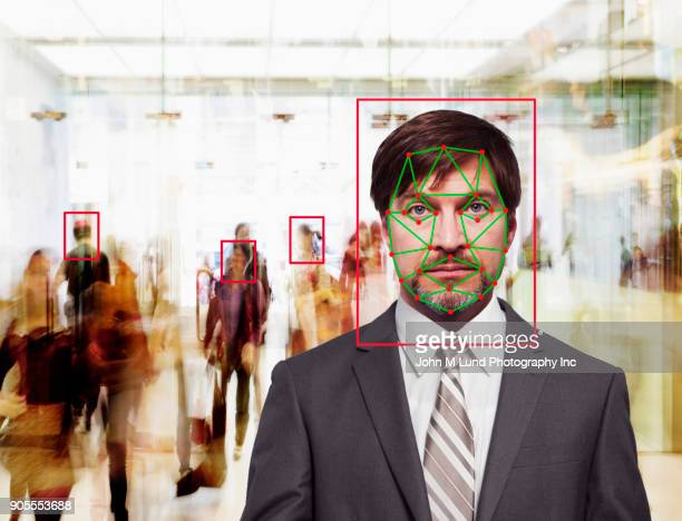 Facial recognition of Caucasian businessman