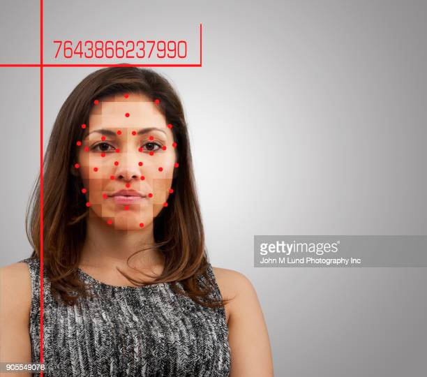 Facial recognition of mixed race woman