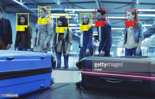 facial recognition technology at the airport - biometrics stock pictures, royalty-free photos & images
