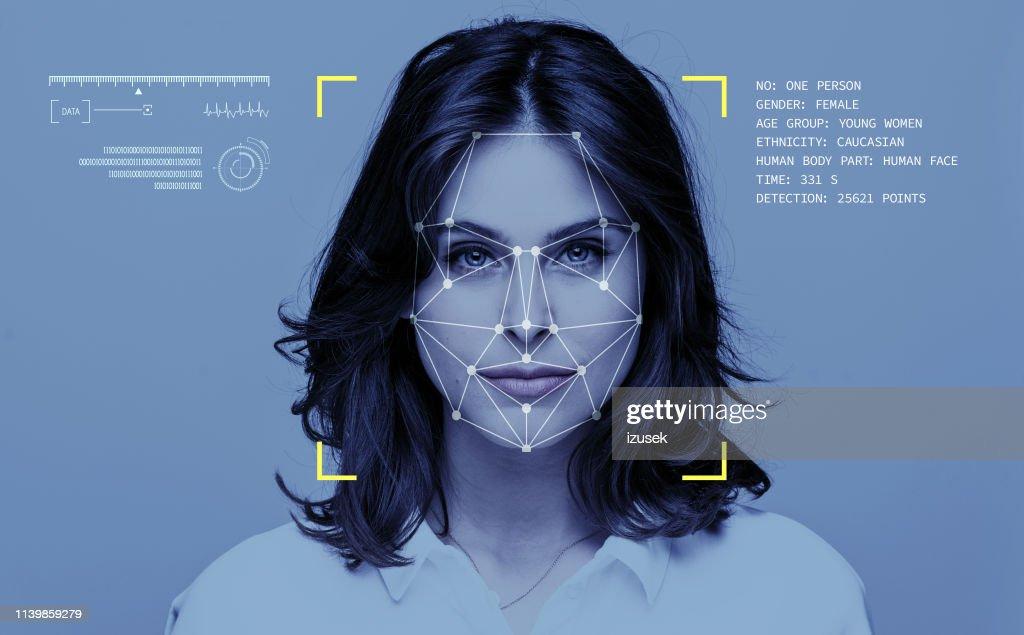 Tecnologia di riconoscimento facciale : Foto stock