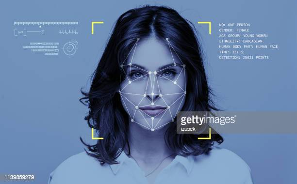 facial recognition technology - futuristic stock pictures, royalty-free photos & images