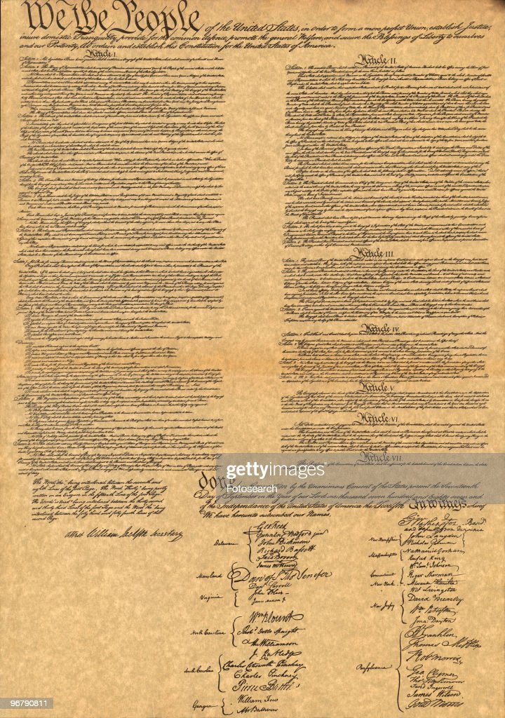 Facimile of The Constitution For The United States Of America Dated September 17, 1787. (Photo by Fotosearch/Getty Images).