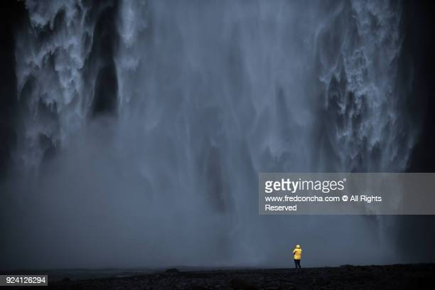 Facing Skogafoss waterfall in Iceland