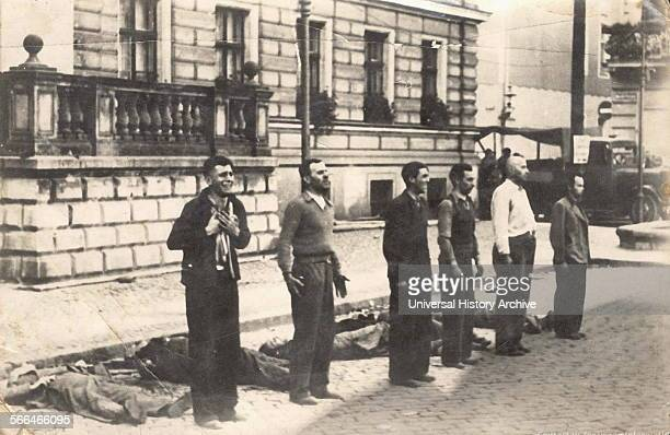 Facing the Death the different expressions of six Polish civilians moments before death by firing squad, after the Nazi invasion of Poland at the...