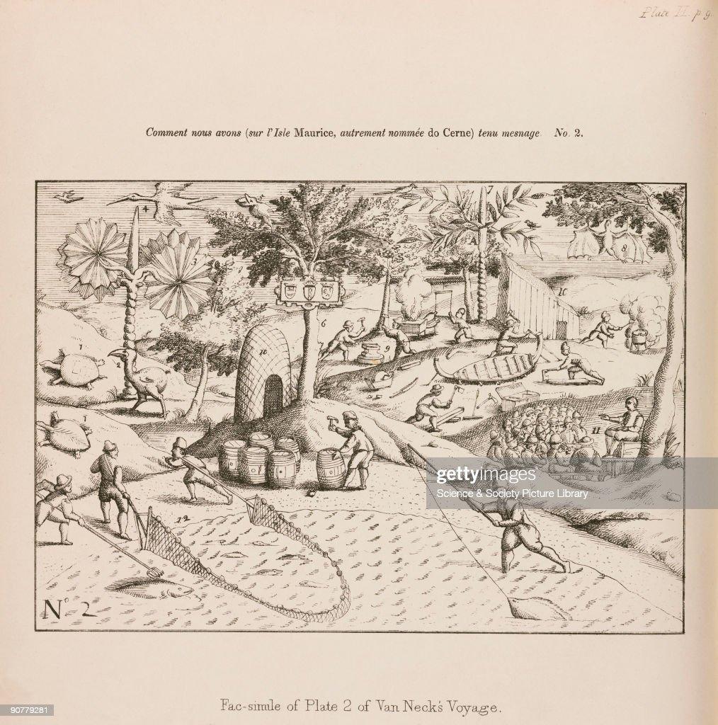 Dutch sailors fishing and building boats, 1598. : News Photo
