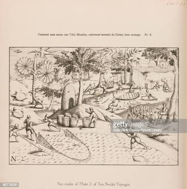 Facsilmile made c 1848 of a drawing showing Admiral Jacob Cornelissoon van Neck�s expedition which landed on Mauritius in 1598 The dodo and solitaire...