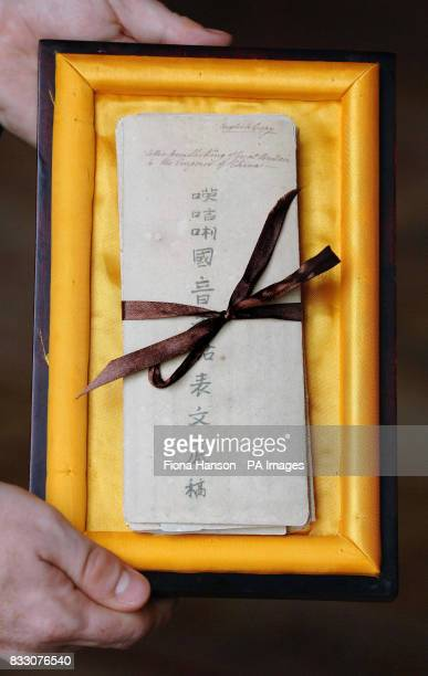 A facsimile of a 1792 letter to the Emperor of China from the King George III which was today presented to Britain's Queen Elizabeth II by the...
