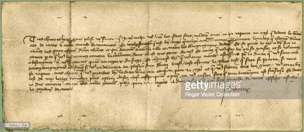 Facsimile of a letter of Joan of Arc sent to the inhabitants of the city of Reims March 28 1430