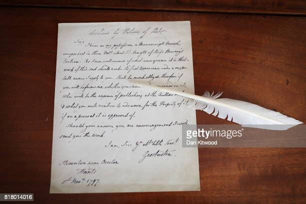 A facsimile of a letter to a Mr Cadill from Jane Austen's father offering Pride and Predjudice which was declined by return at the former home of the...