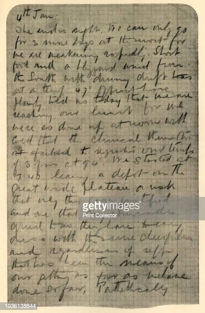 Facsimile of Page of Shackleton's Diary' 4 January 1909 Page of Shackleton's diary on the way to establishing the Farthest South record 'we are...