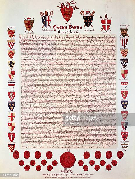 Facsimile of the Magna Carta signed by King John of England at Runnymede laying the basis for political and personal liberty Barons' coats of arms...